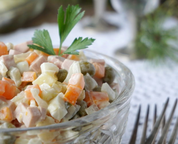 Traditional russian salad Olivie