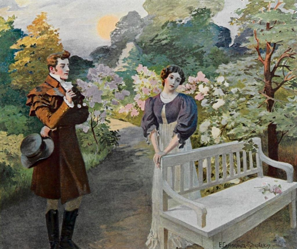 Illustration of Onegin and Tatyana