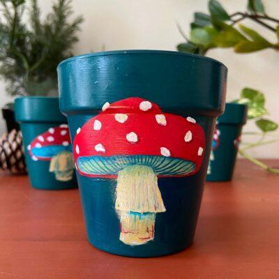 handpainted mushroom planter